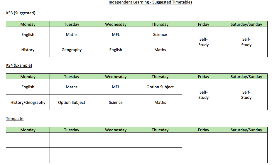 Independent Learning Timetable